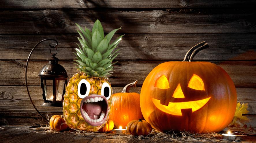 Pumpkins on wood background
