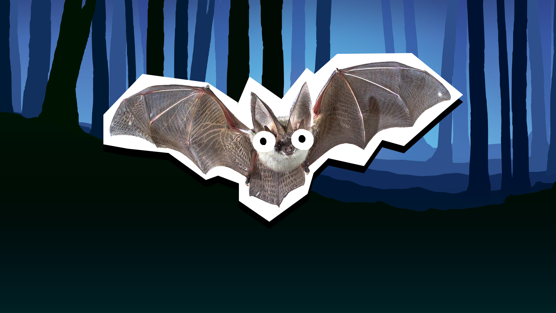 A spooky looking bat flying in a haunted looking forest