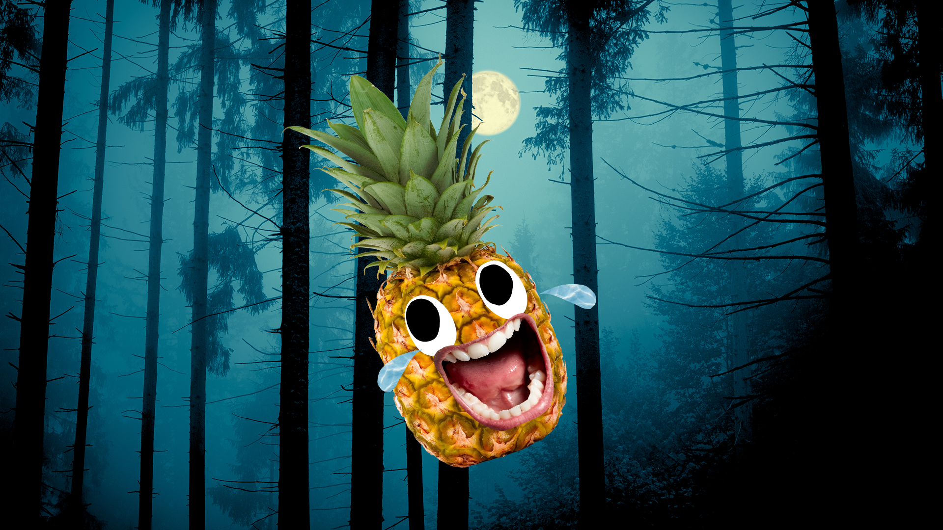 Laughing pineapple in front of a full moon and spooky looking forest