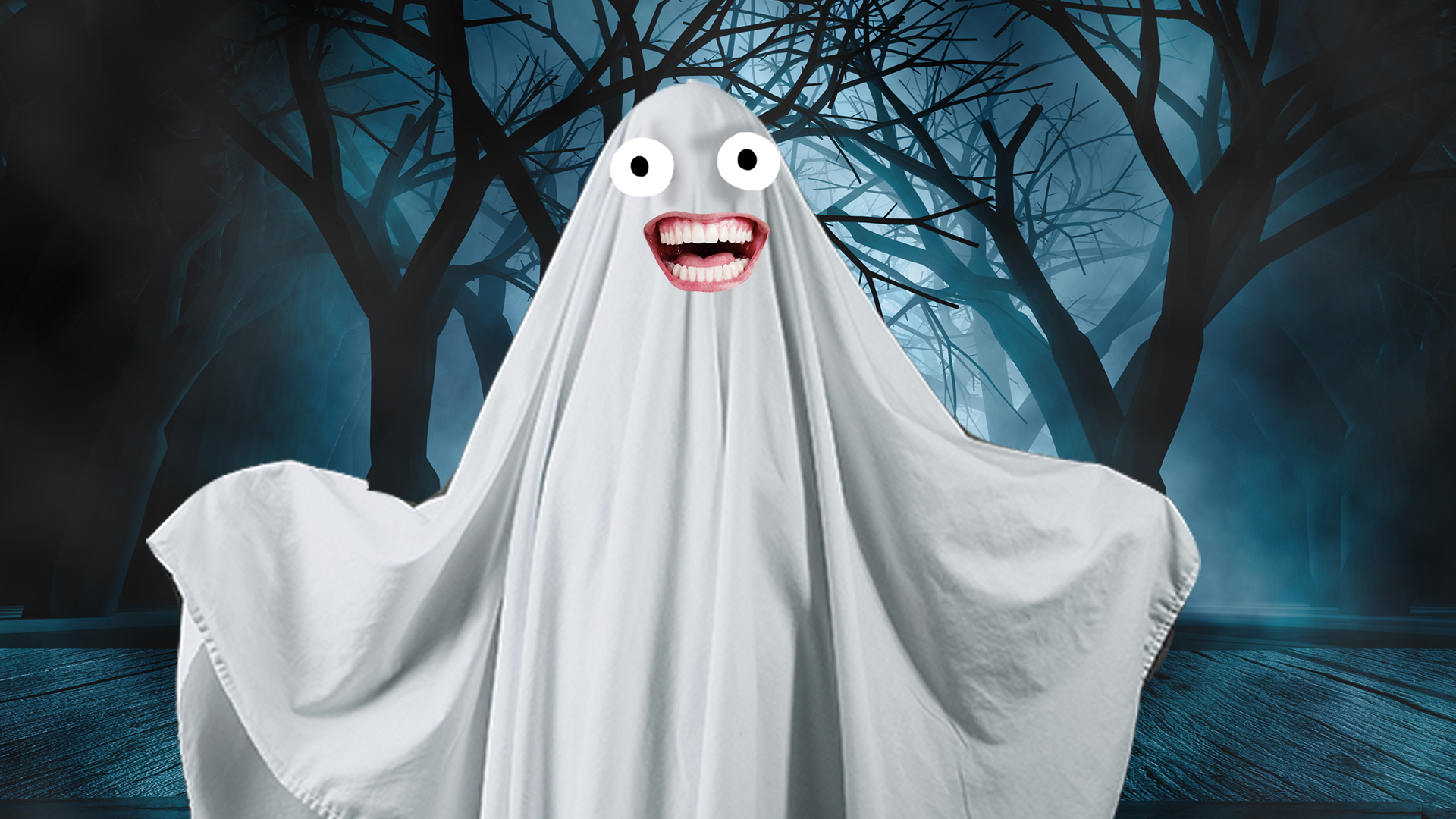 A grinning white ghost
