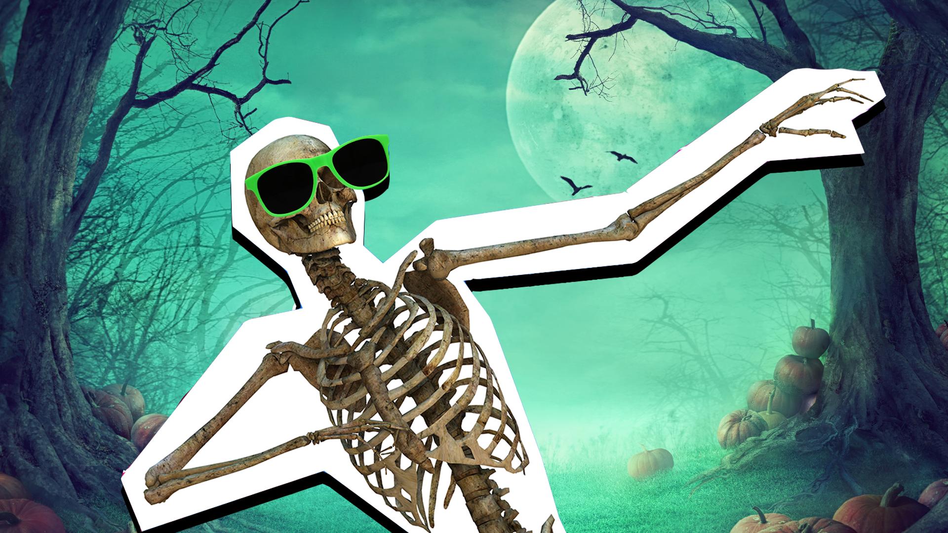 Grinning skeleton wearing green sunglasses doing the Dab Fortnite dance