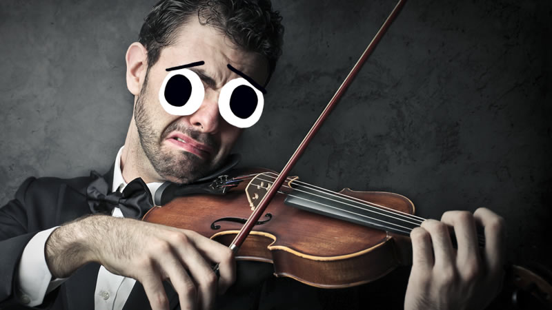 A man playing a sad melody on a violin