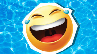Laughing emoji in swimming pool
