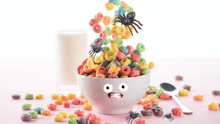 Fake spiders in a cereal bowl