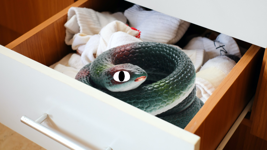 A plastic snake lurks in an untidy sock drawer