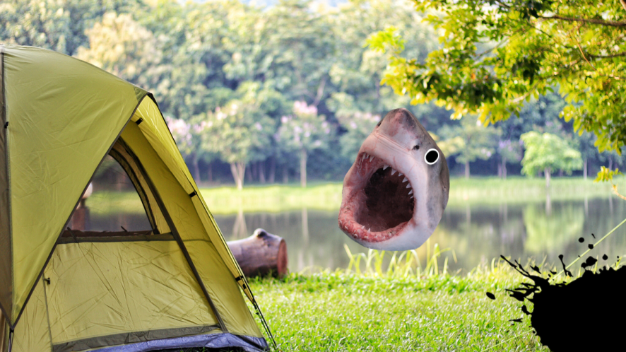 Camping scene with Beano stickers
