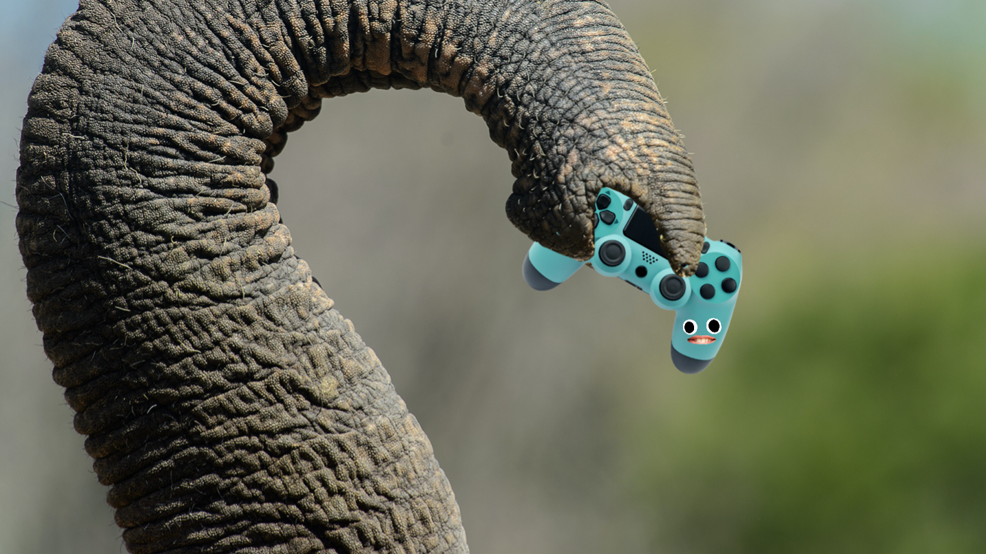 An elephant holding a game controller