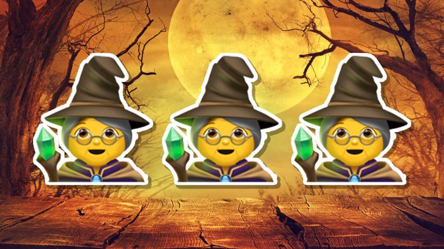 Halloween emoji witches