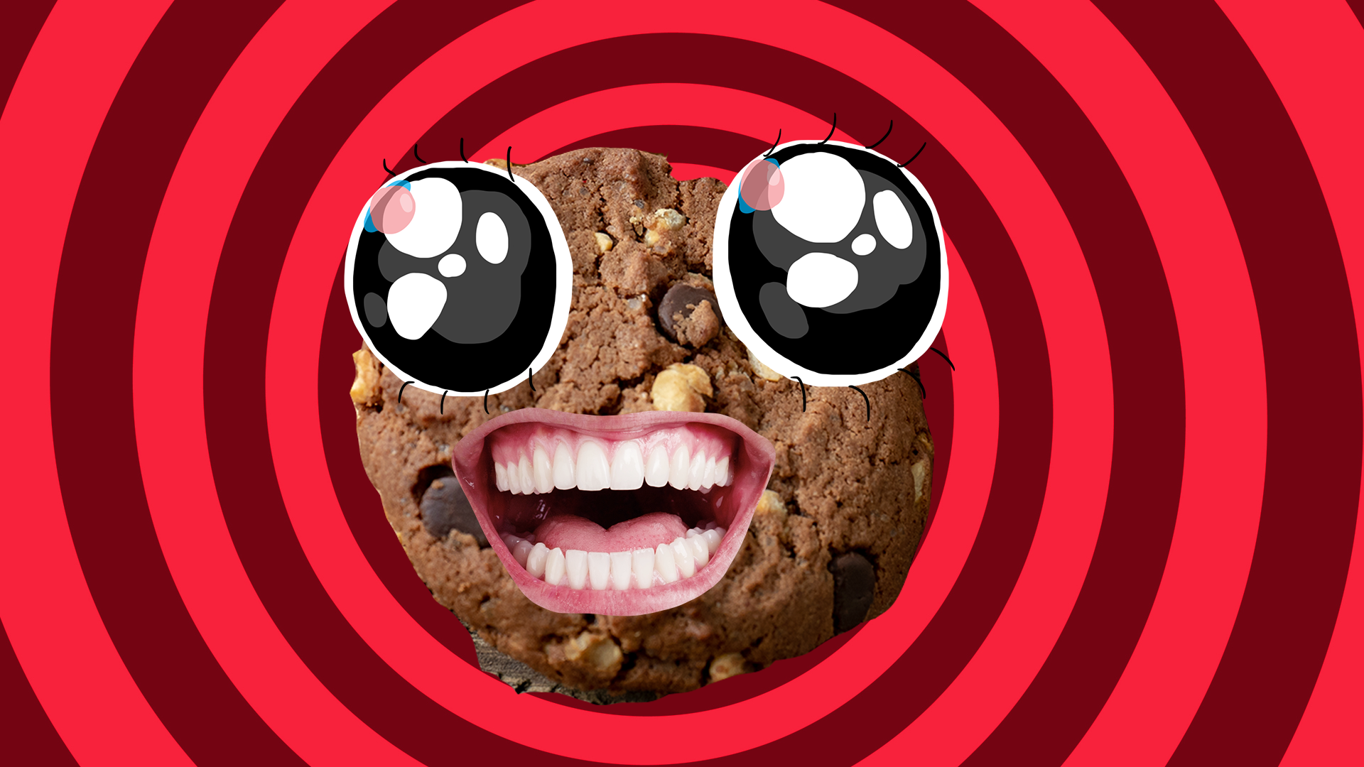 Grinning chocolate cookie
