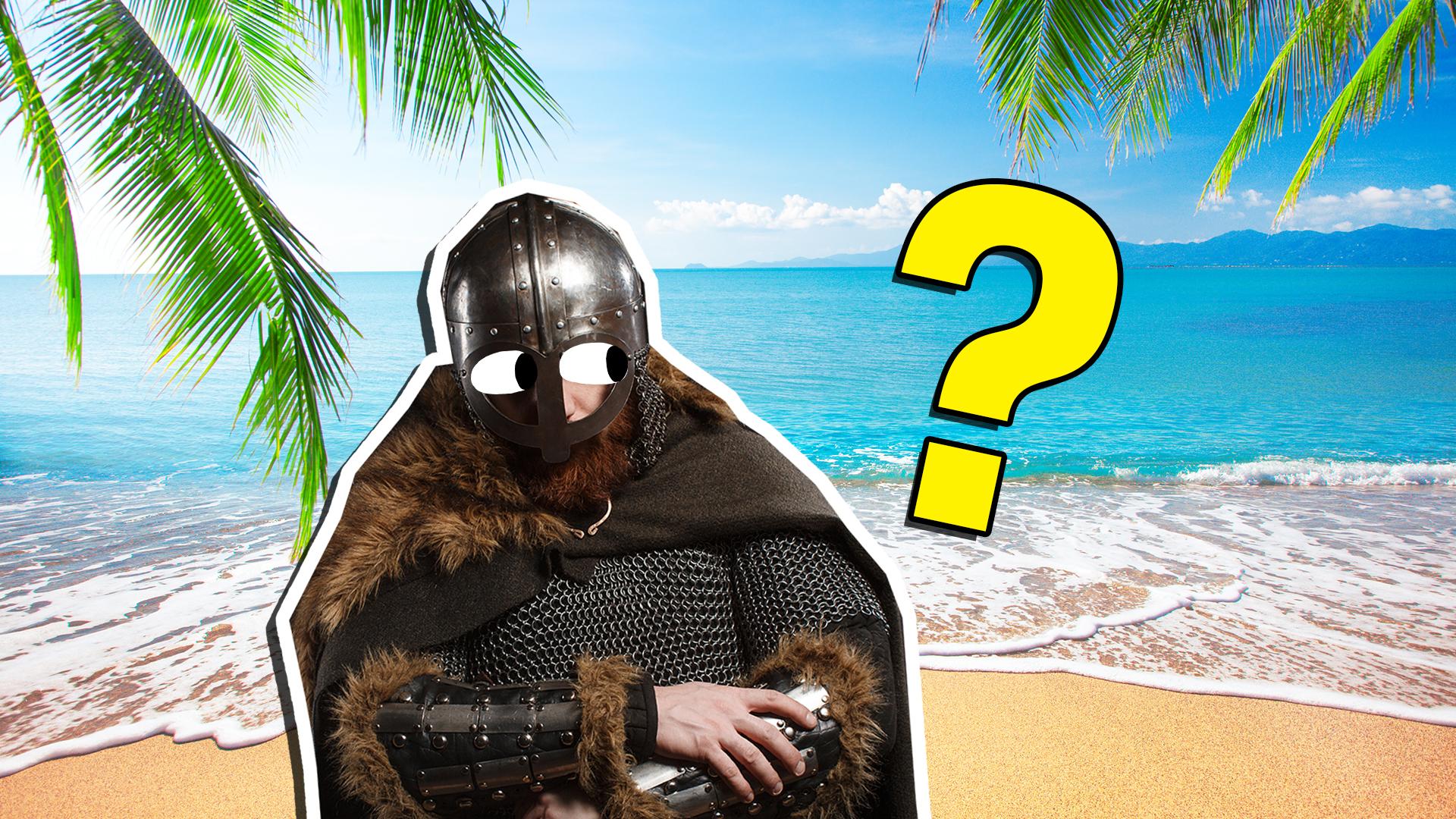 Viking warrior standing on a beach