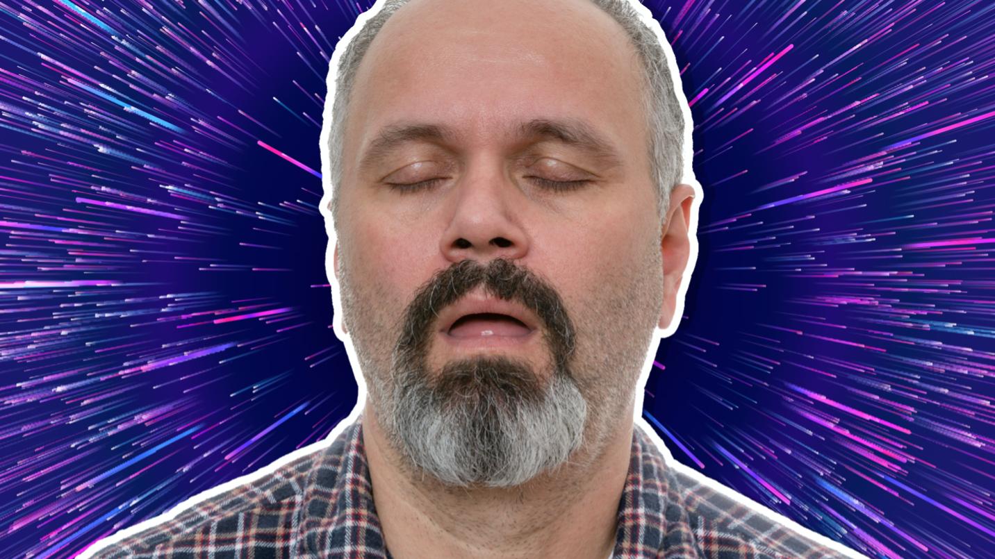 Man with his eyes shut