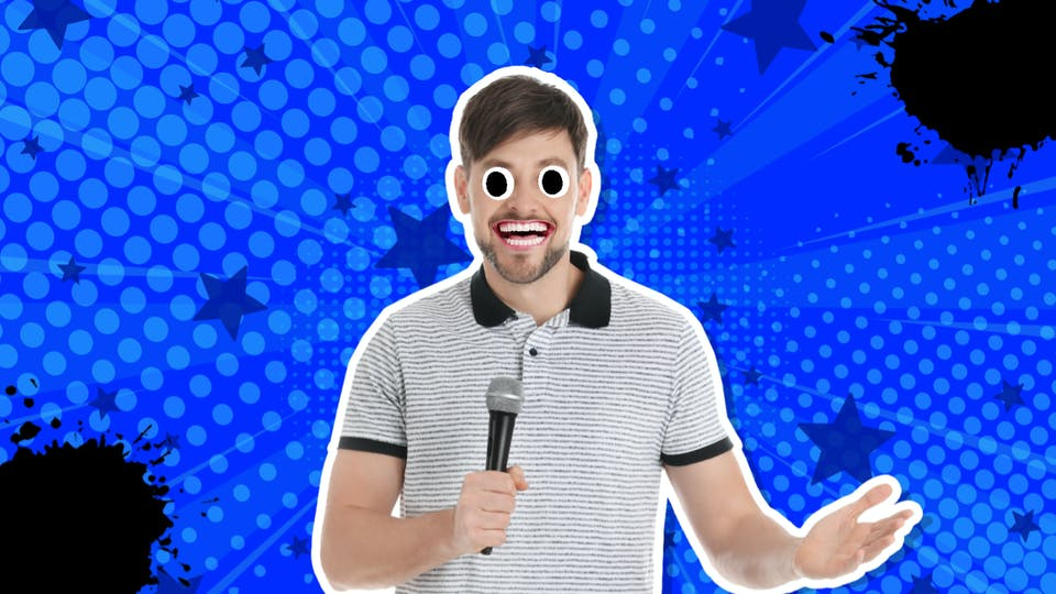 A funny comedian telling a joke