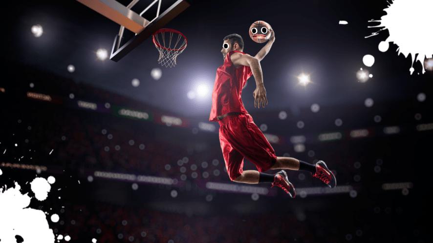A basketball player dunking like a hero