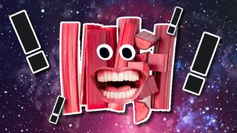 A happy, laughing rhubarb in space introduces you to some funny facts.