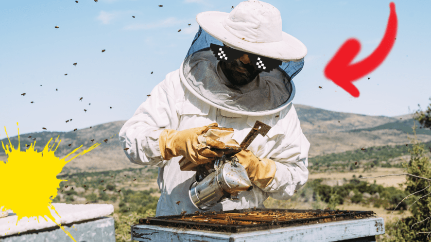 Bee keeper with stickers