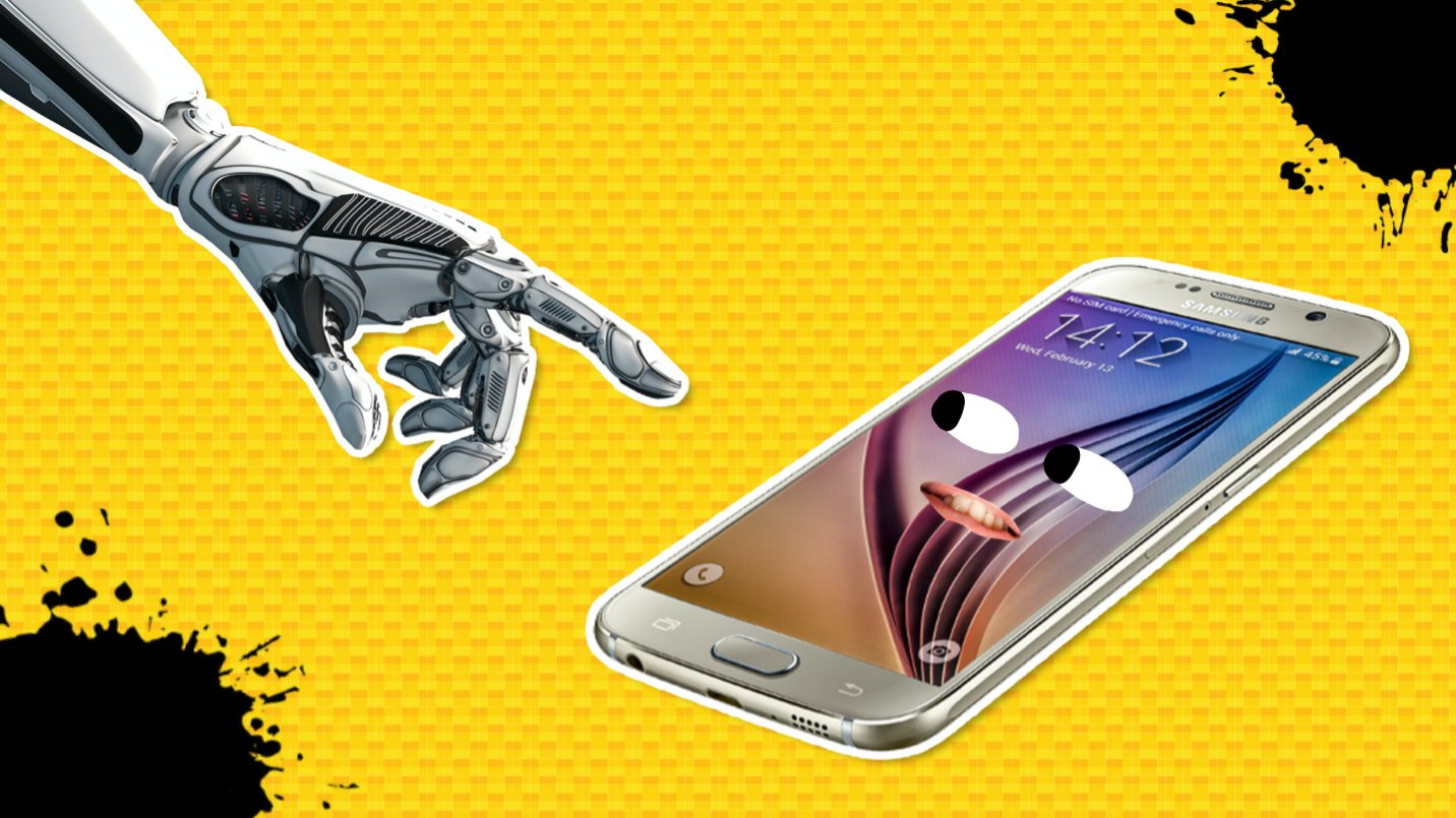 A robotic hand and a smartphone