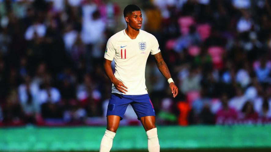 Marcus Rashford representing England at the Euro 2020 qualifiers