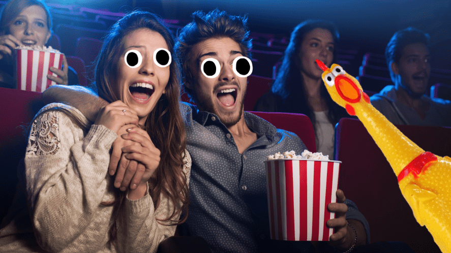 Man and woman watching film
