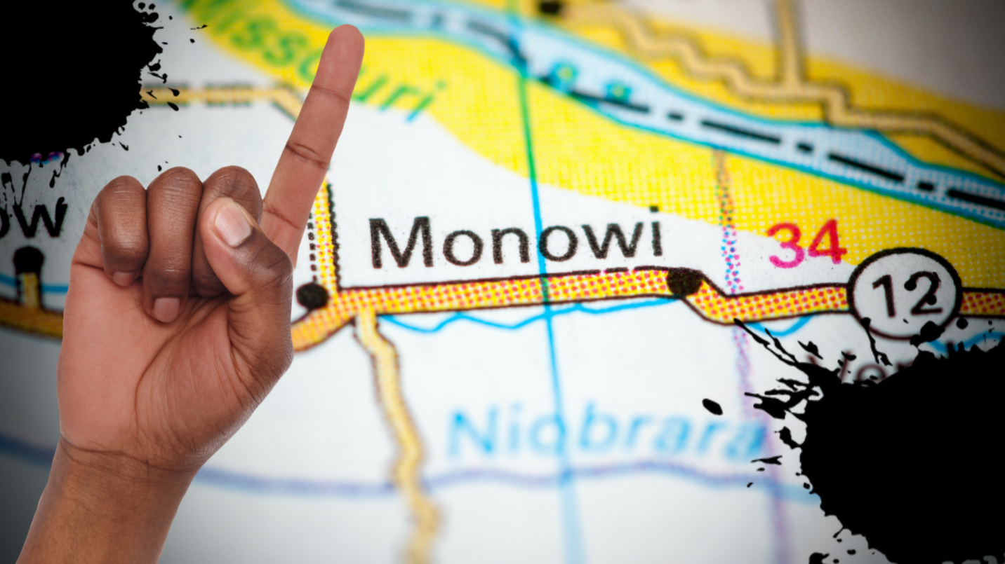 A map of Monowi, Nebraska