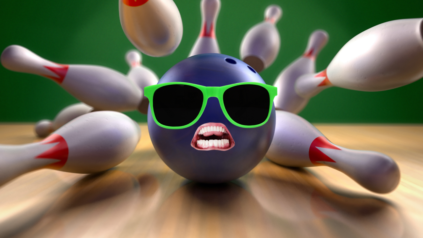 Bowling ball and skittles flying everywhere