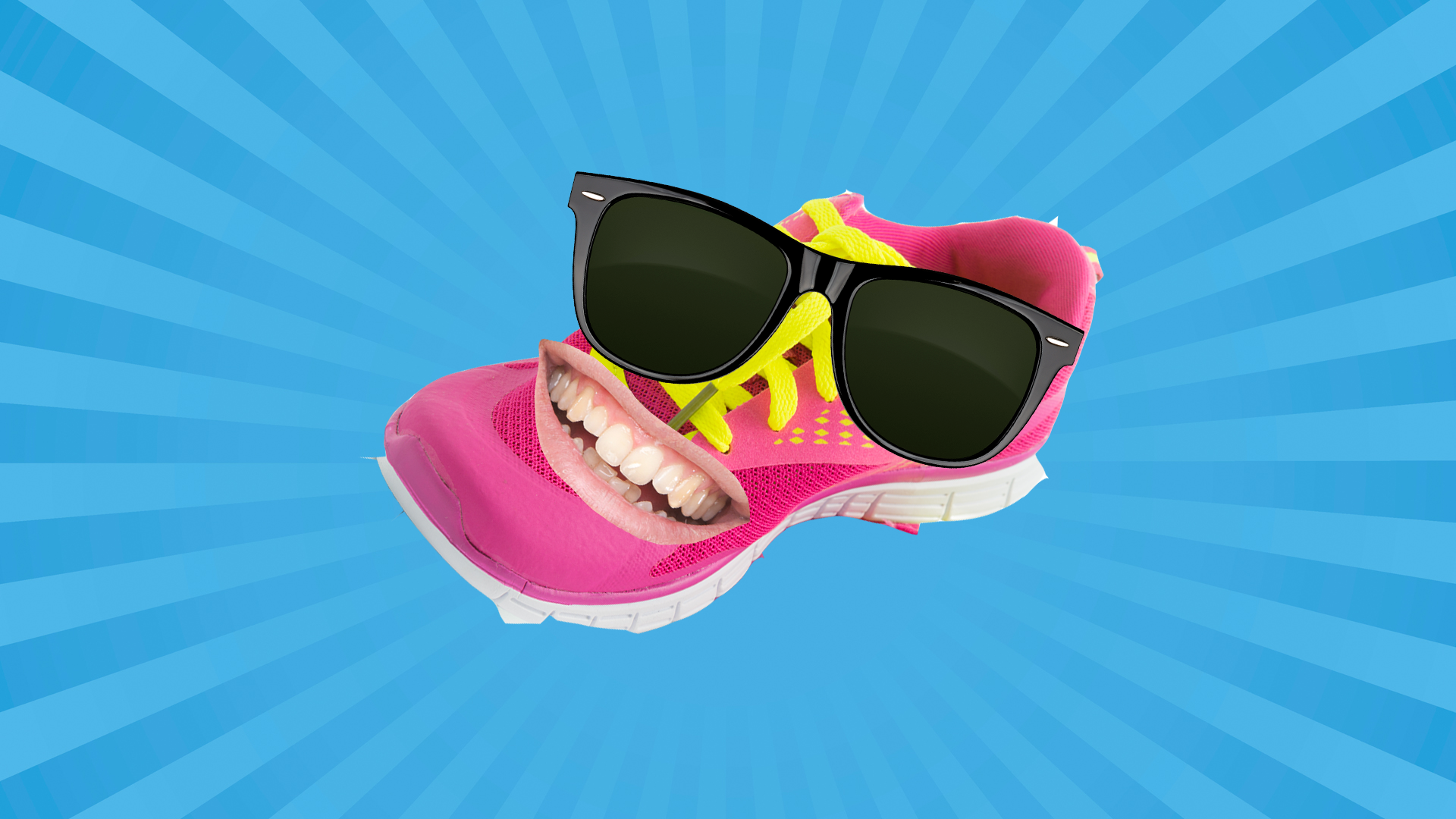 A grinning pink trainer