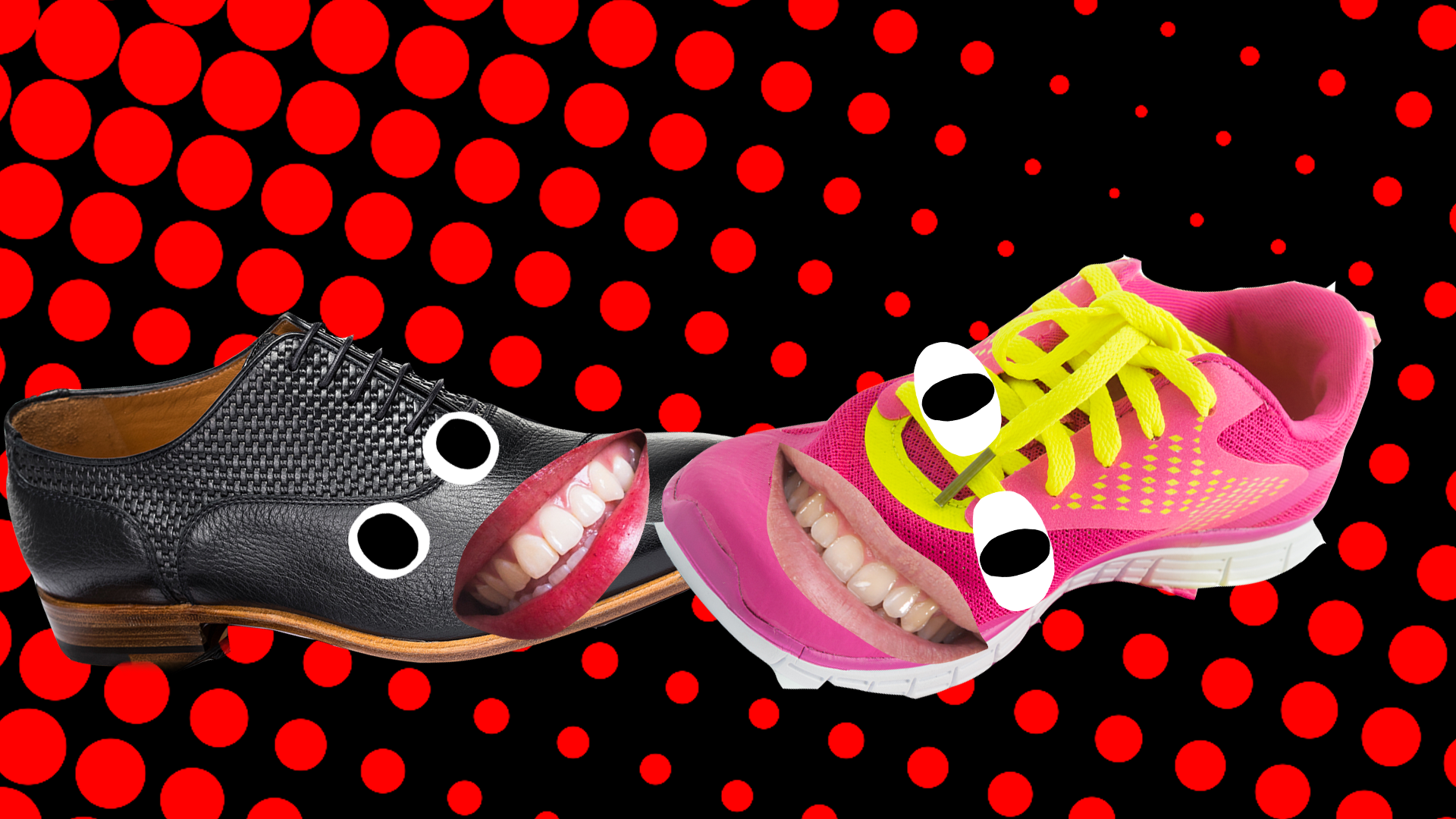 A grinning pink trainer and a smiling black shoe