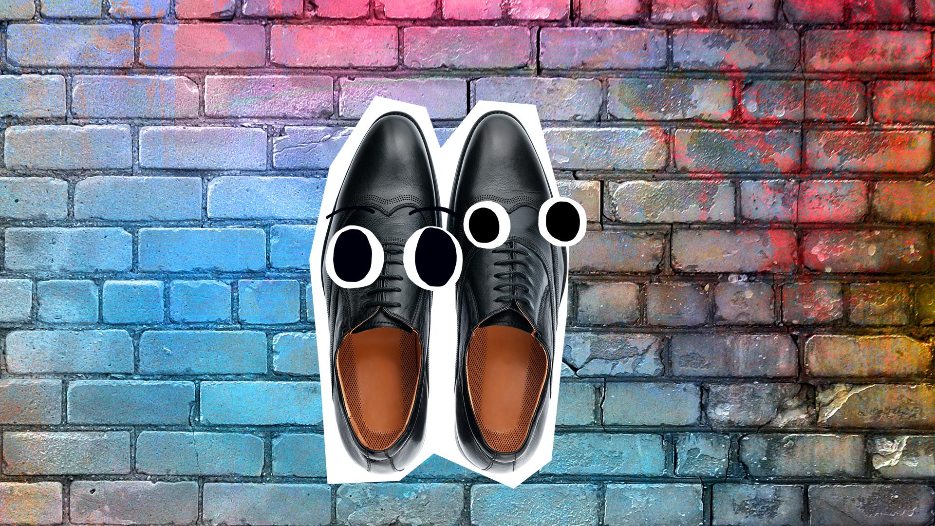 Black shoes on a pavement