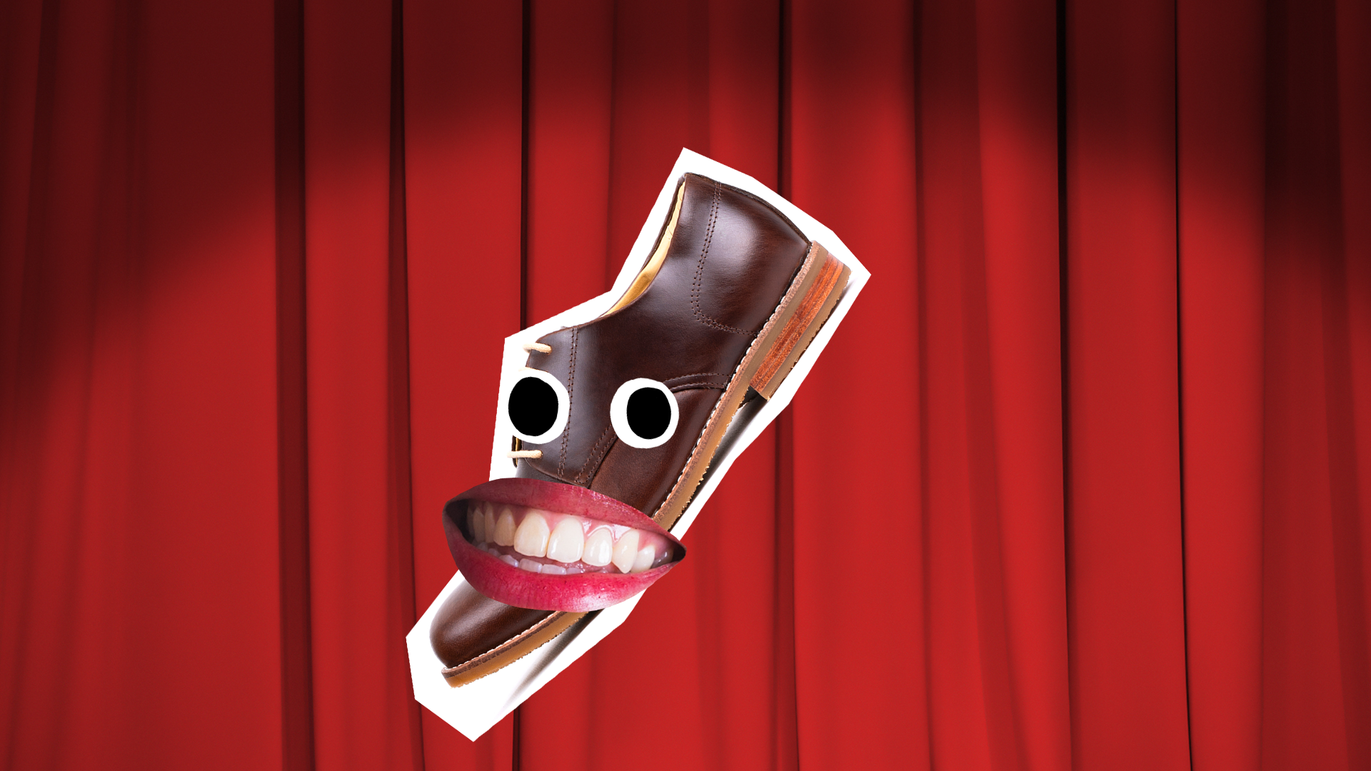 A shoe with a smile on its face in front of a theatrical red curtain