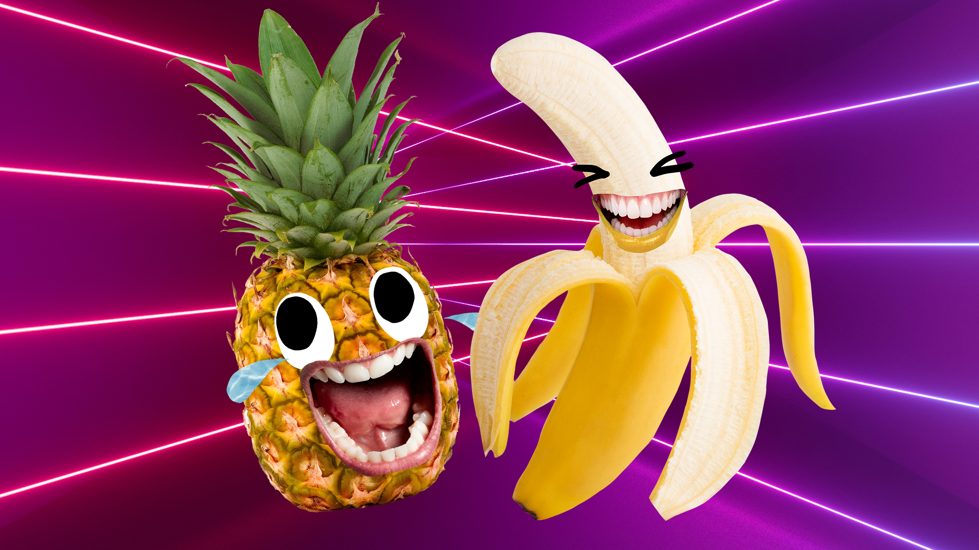 A cry laughing pineapple and and a laughing banana