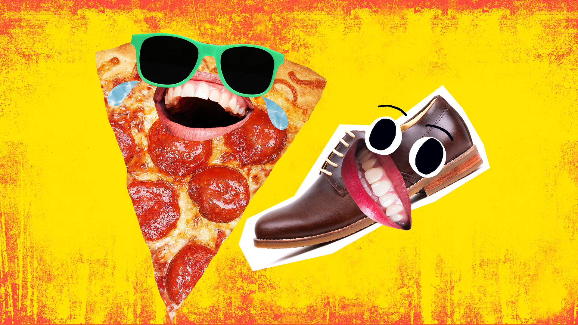 A laughing slice of pizza and a grinning brown shoe