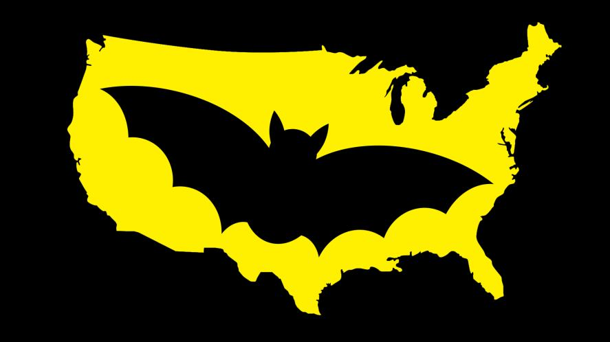 A bat symbol on an outline of the USA
