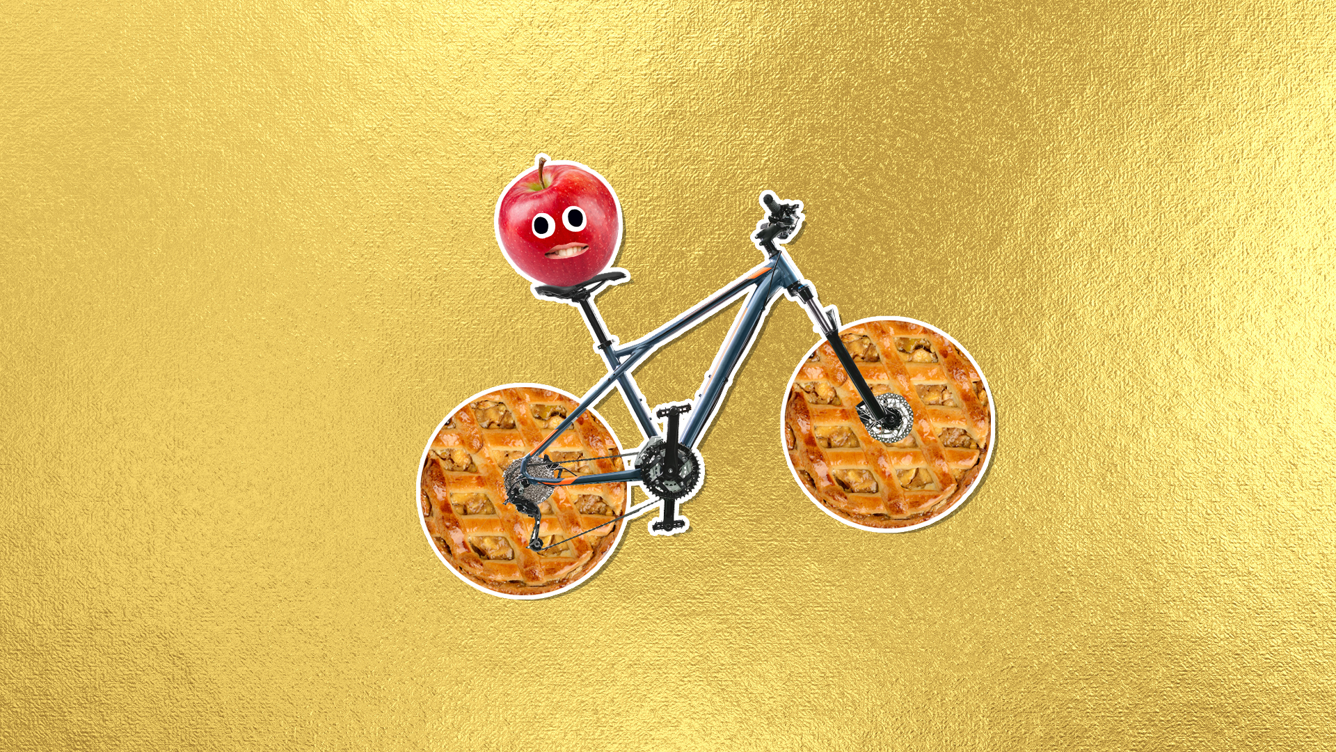A bike with pies for tyres