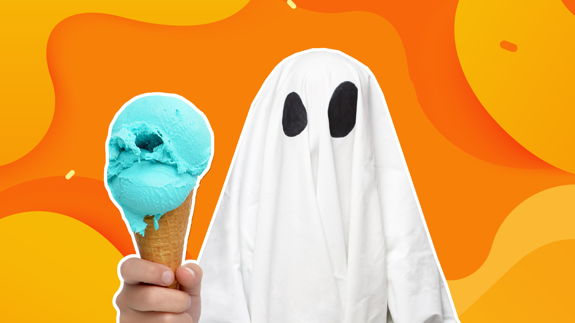 A ghost holding an ice cream