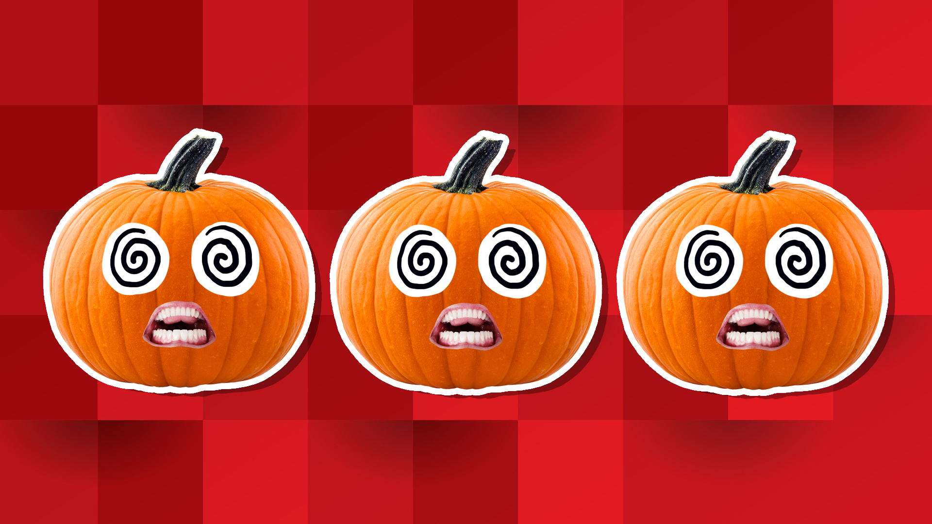 3 open mouthed Pumpkins