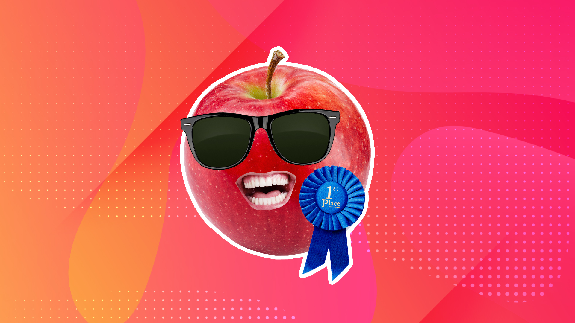 Apple with first prize rosette