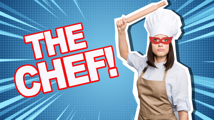 Masked chef holding a rolling pin