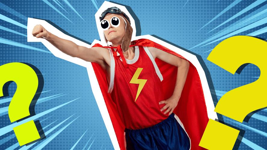 Man in silly homemade superhero costume