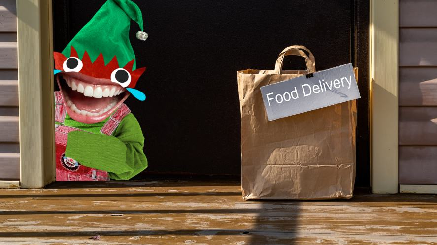 An elf accepts a food delivery