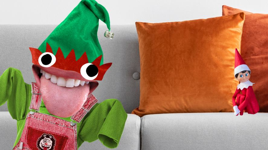 Two elves on a sofa