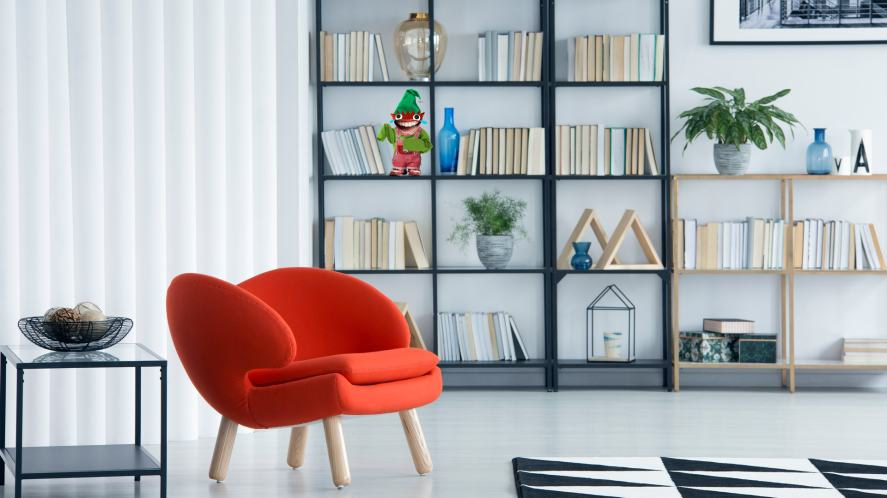 An elf on a bookcase