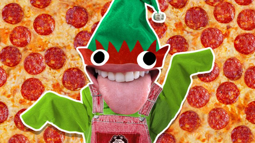 An elf and a massive pizza