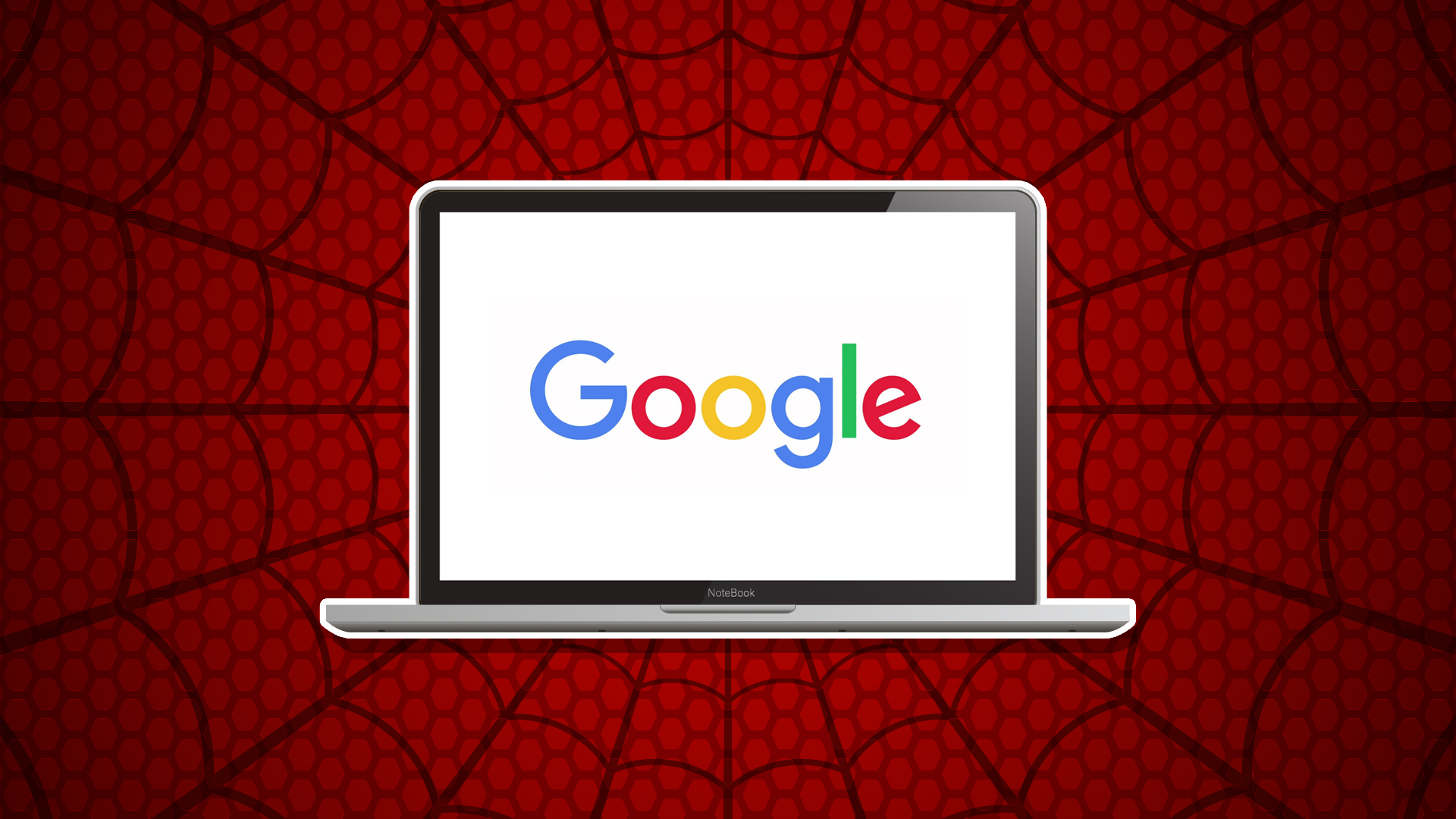 A laptop on a big spider web
