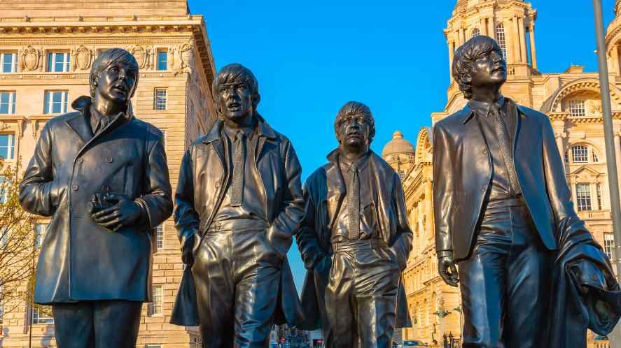A statue of a band from Liverpool