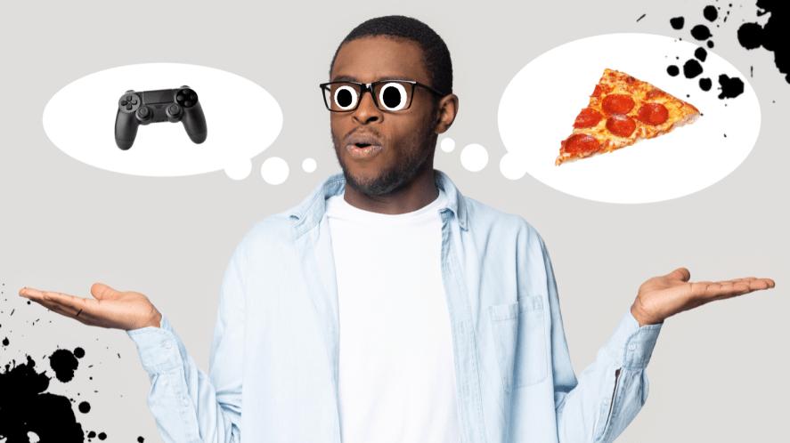A man deciding between gaming or a pizza