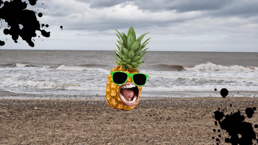 A pineapple on a stony beach