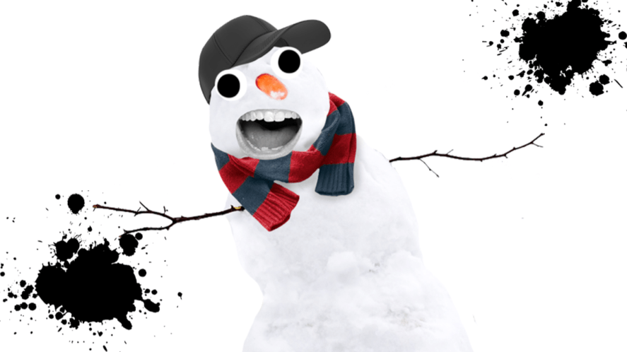 Grinning snowman on white background