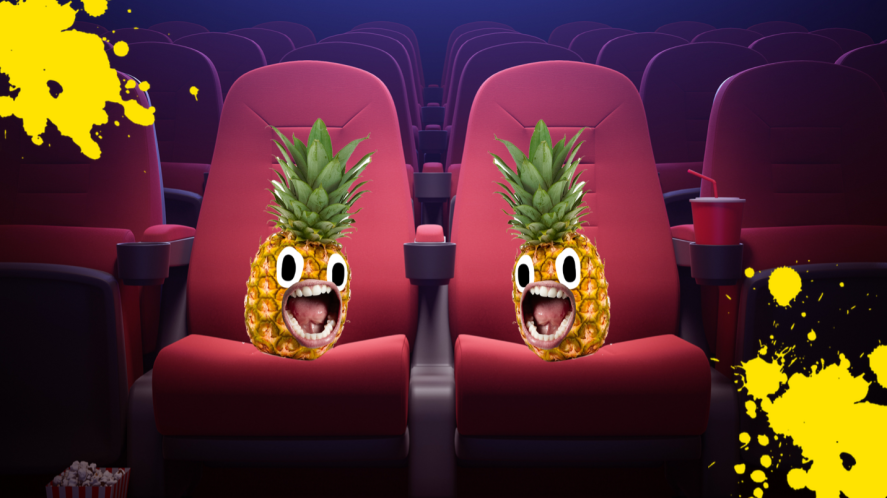 Two pineapples in a cinema