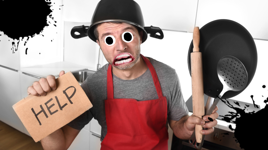 A chef requesting help in the kitchen