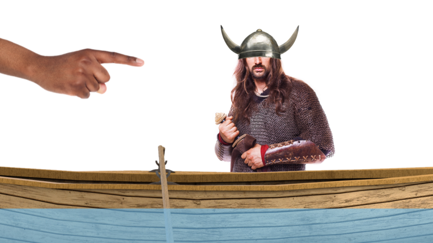 A viking in a small boat