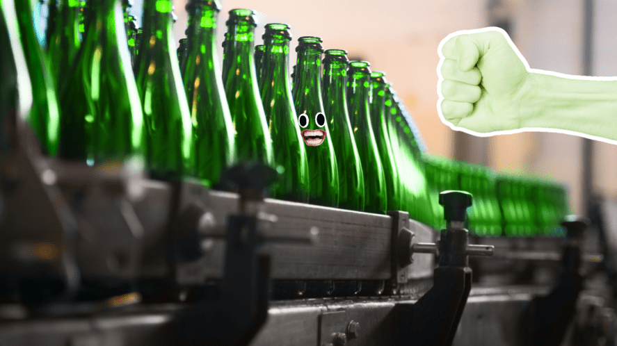 The Hulk at a bottling plant